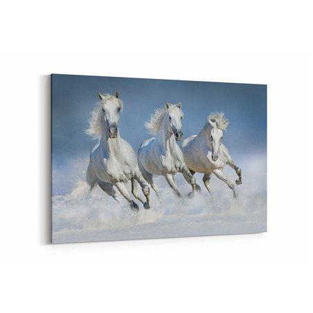 Karda Koşan Atlar  Kanvas Tablosu