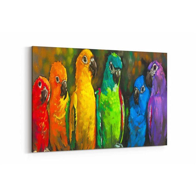 Papağan Ailesi  Kanvas Tablosu