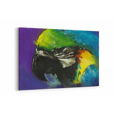 Pastel Çizim Papağan Kanvas Tablosu