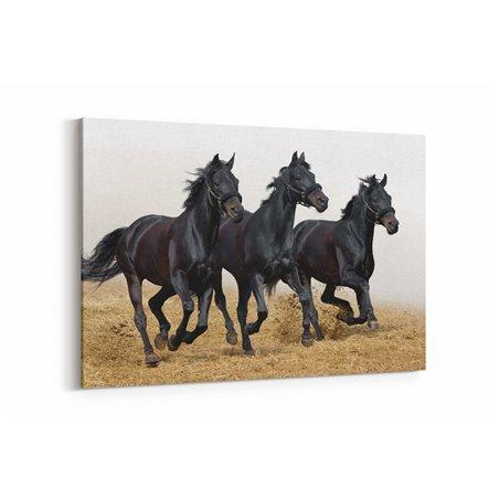 Siyah Atlar Kanvas Tablosu