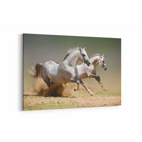 Koşan Beyaz Atlar Kanvas Tablosu