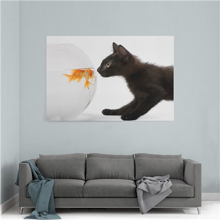 Balıklar ve Yavru Kedi Kanvas Tablosu
