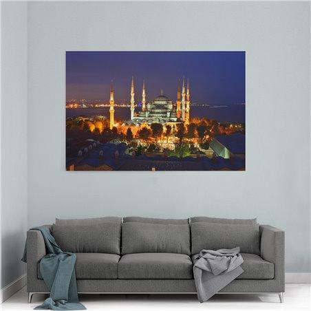 Sultan Ahmet Camii Gece Manzarası Kanvas Tablosu