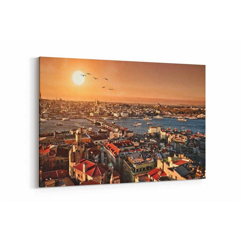 İstanbul Manzarası ve Güneş Kanvas Tablosu