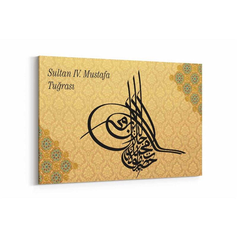 Sultan 4. Mustafa Tuğrası Kanvas Tablosu