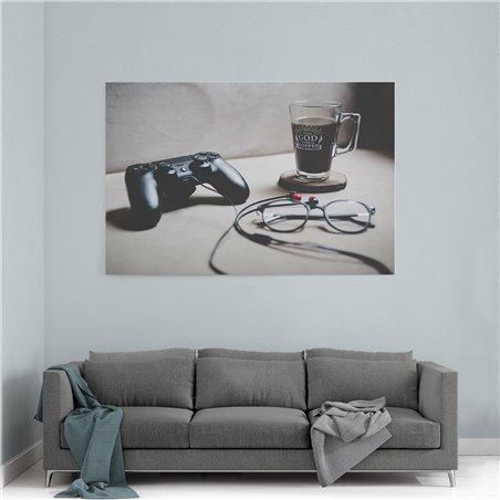 PlayStation ve Kahve Kanvas Tablosu
