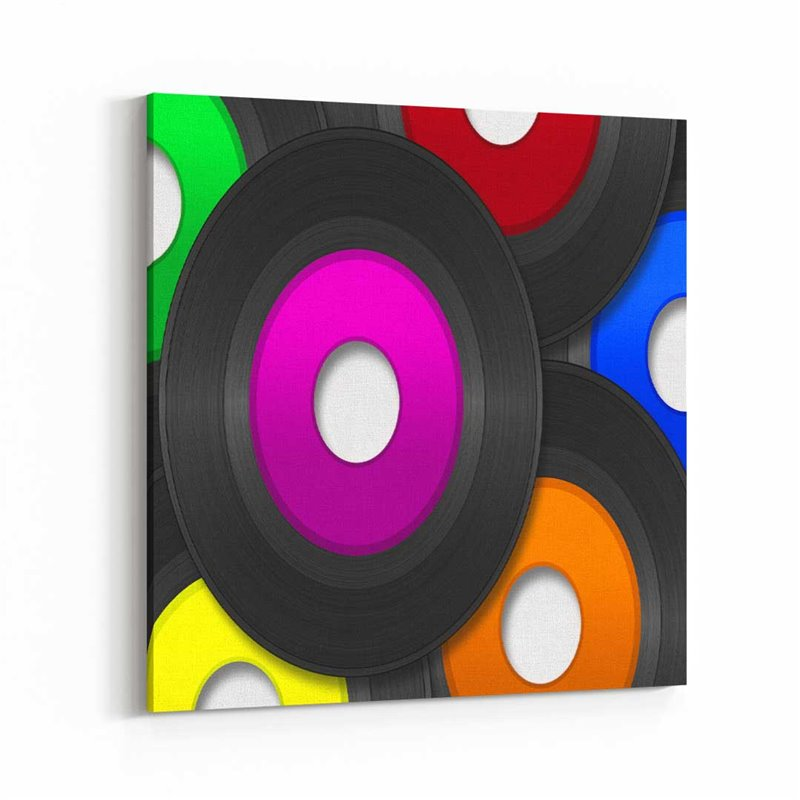 Renkli Plaklar Kanvas Tablo