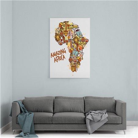Afrika Harita Kanvas Tablosu