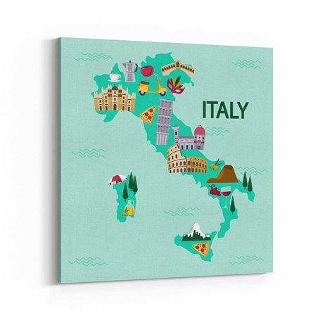 İtalya Harita Kanvas Tablo