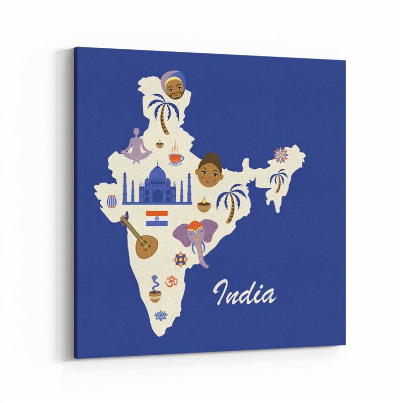 Hindistan Harita Kanvas Tablo