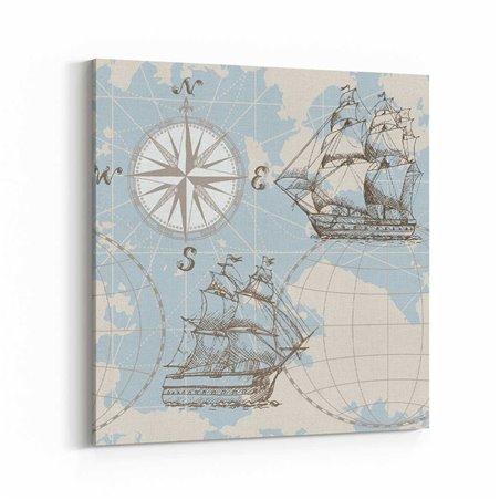 Harita üzerinde Yelkenli Kanvas Tablo