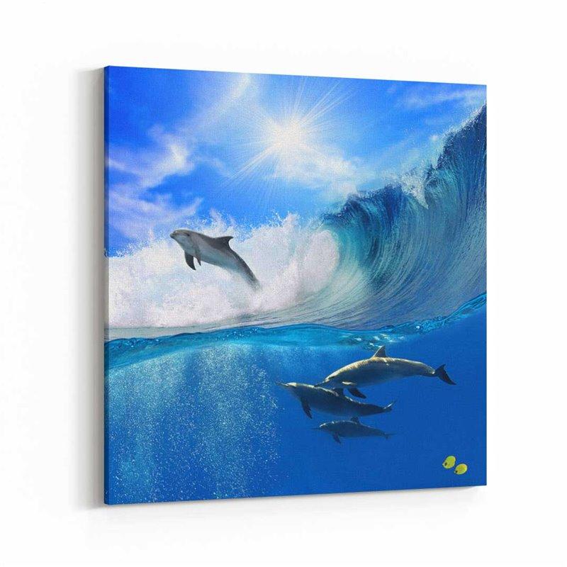 Yunus Balıkları Kanvas Tablo