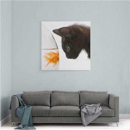 Balık ve Kedi Kanvas Tablo