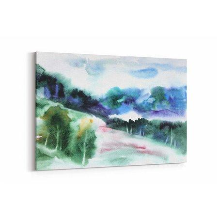 Sulu Boya Görünümlü Yayla Kanvas Tablo