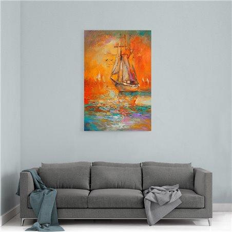 Yağlı Boya Görünümlü Yelkenli Gemi Kanvas Tablo