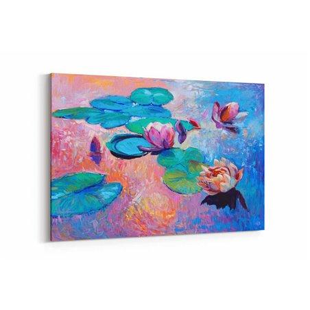 Yağlı Boya Görünümlü Su Çiçekleri Kanvas Tablo