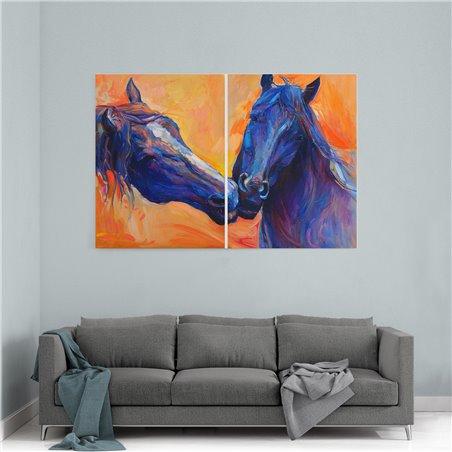 Yağlı Boya Görünümlü İkiz Atlar Kanvas Tablo