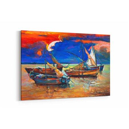 Yağlı Boya Görünümlü Yelkenliler Kanvas Tablo