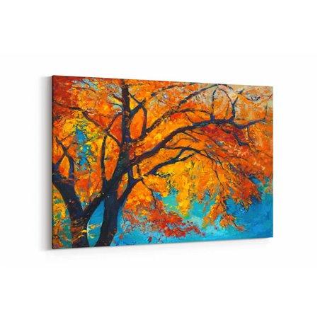 Yağlı Boya Görünümlü Sonbahar Ağacı Kanvas Tablo