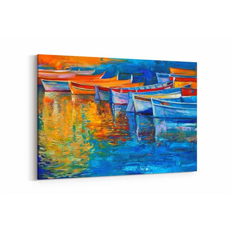 Yağlı Boya Görünümlü Renkli Sallar Kanvas Tablo