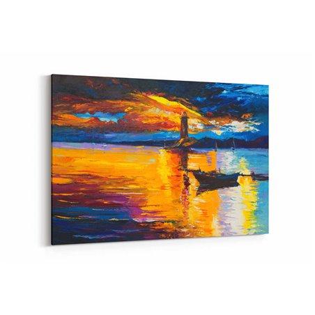 Yağlı Boya Görünümlü Deniz Feneri Kanvas Tablo