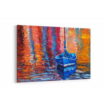 Yağlı Boya Görünümlü Mavi Sandal Kanvas Tablo