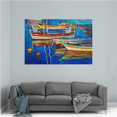 Yağlı Boya Görünümlü Ahşap Tekneler Kanvas Tablo