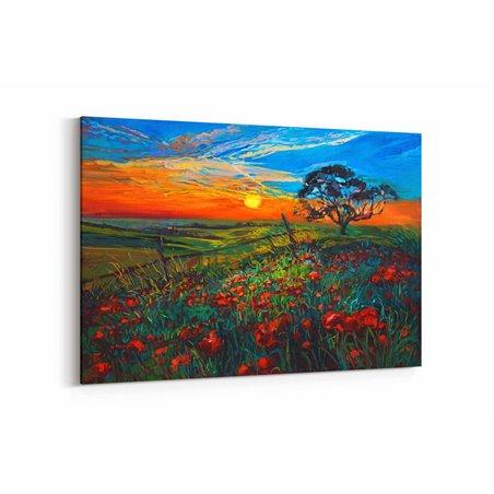 Yağlı Boya Görünümlü Kırmızı Çiçekler Kanvas Tablo