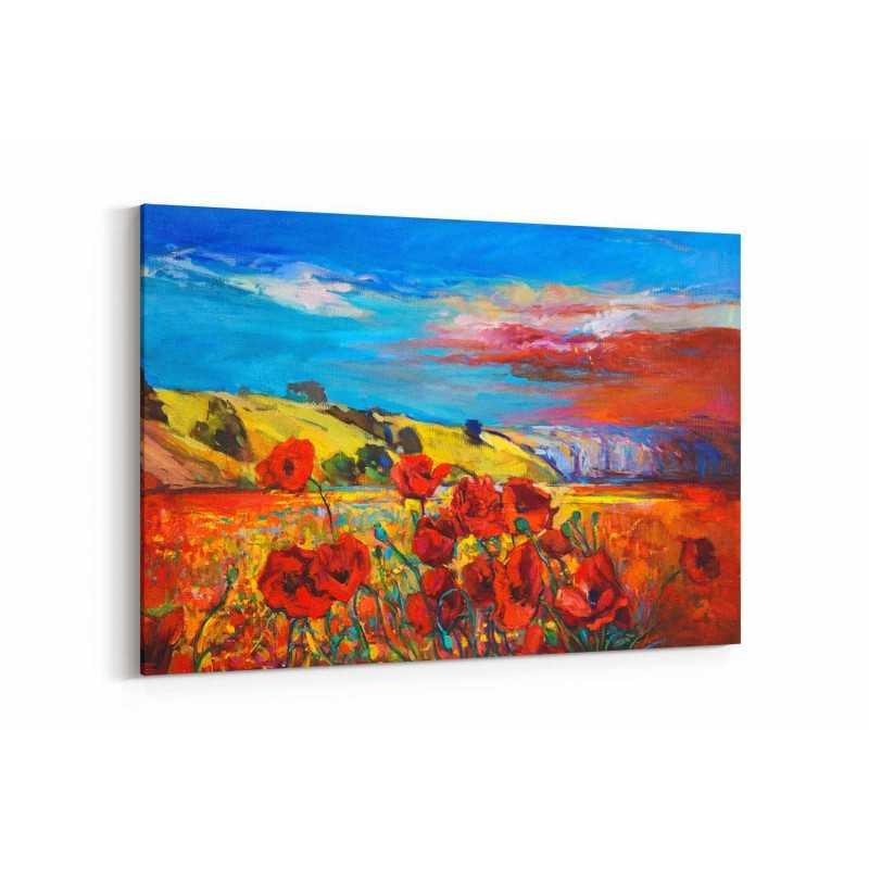 Yağlı Boya Görünümlü Doğada Güller Kanvas Tablo