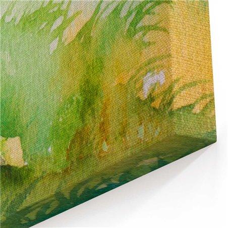 Sulu Boya Görünümlü Kır Bahçesi Kanvas Tablo