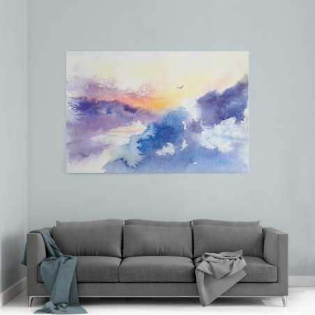 Sulu Boya Görünümlü Dağlar Kanvas Tablo