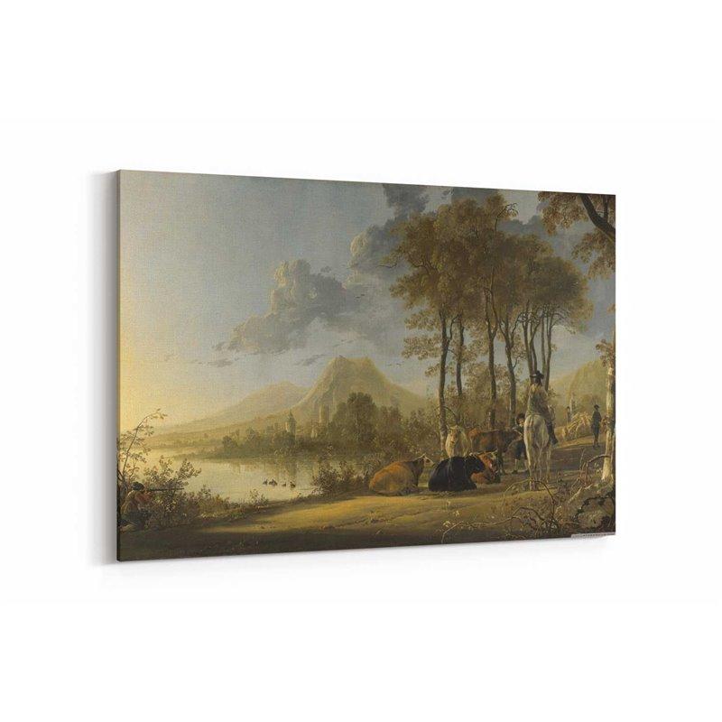 Yağlı Boya Görünümlü Süvariler ve Nehir Manzarası Kanvas Tablo