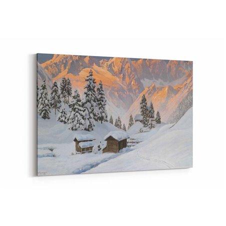 Yağlı Boya Görünümlü Karlı Dağ Evi Kanvas Tablo