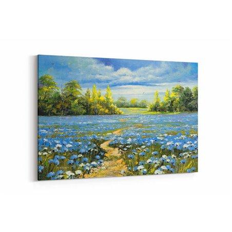 Yağlı Boya Görünümlü Mavi Çiçekler Kanvas Tablo