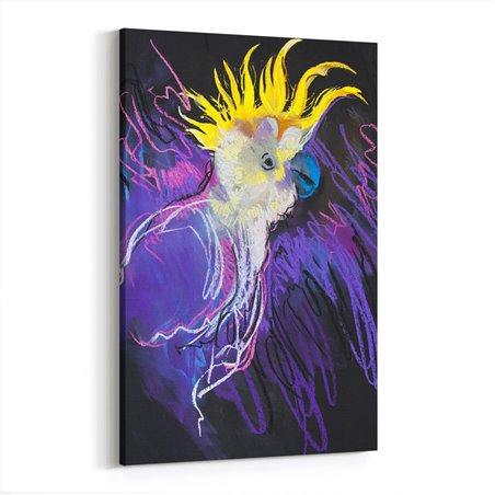 Pastel Çizim Görünümlü Mor Papağan Kanvas Tablo