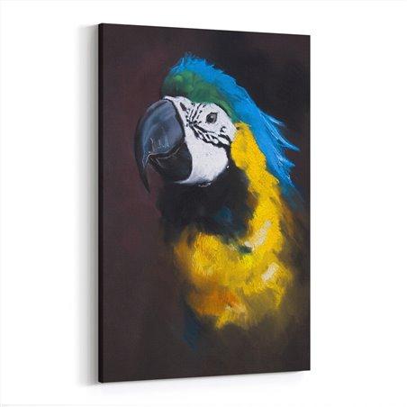 Yağlı Boya Görünümlü Sarı Papağan Kanvas Tablo