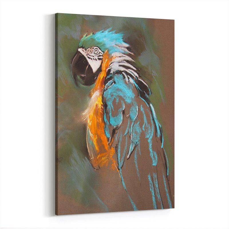 Yağlı Boya Görünümlü Turkuaz Papağan Kanvas Tablo