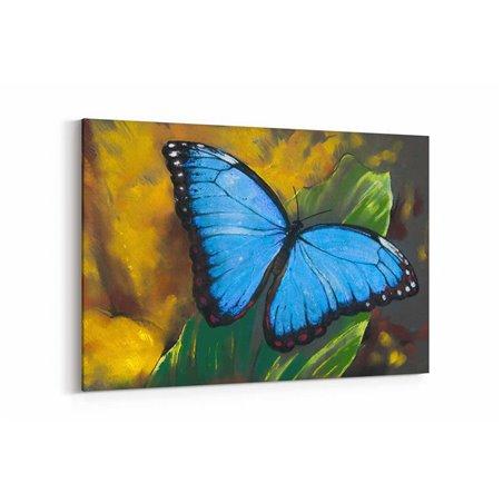 Yağlı Boya Görünümlü Mavi Kelebek Kanvas Tablo