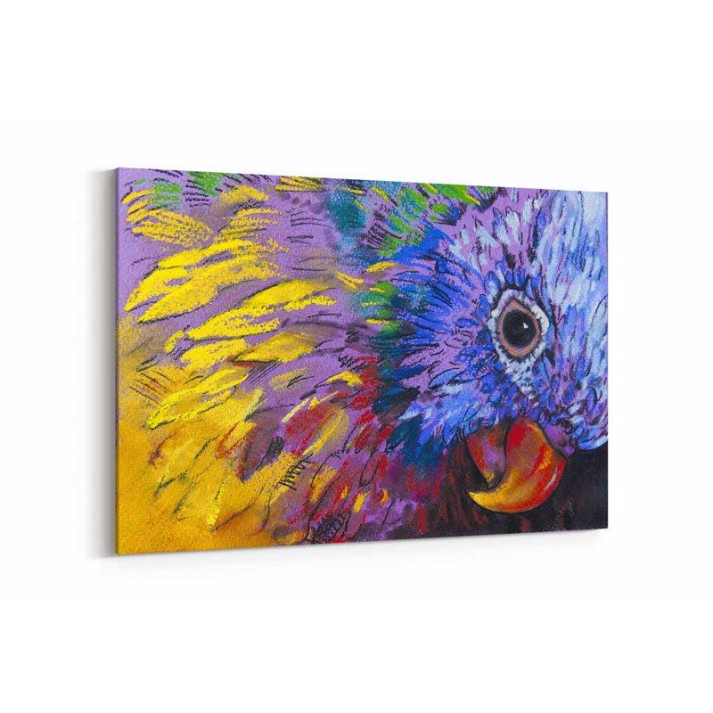 Yağlı Boya Görünümlü Renkli Kuş Kanvas Tablo