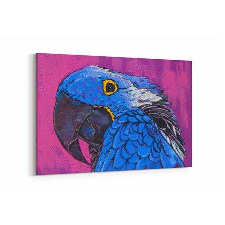 Yağlı Boya Görünümlü Mavi Papağan Kanvas Tablo