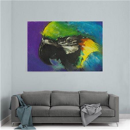 Yağlı Boya Görünümlü Yeşil Papağan Kanvas Tablo