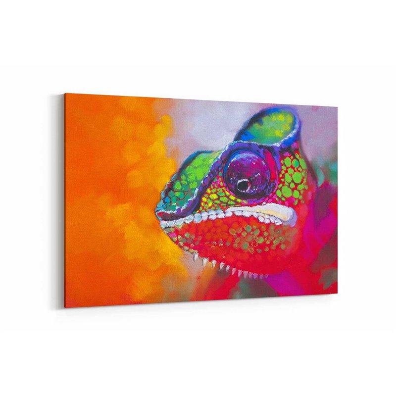 Yağlı Boya Görünümlü Kırmızı Bukalemun Kanvas Tablo