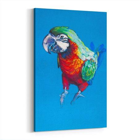 Yağlı Boya Görünümlü Turuncu Papağan Kanvas Tablo