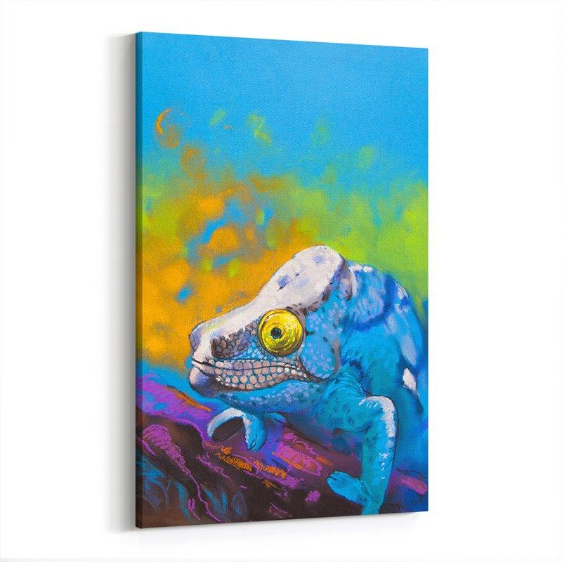 Yağlı Boya Görünümlü Mavi Bukalemun Kanvas Tablo