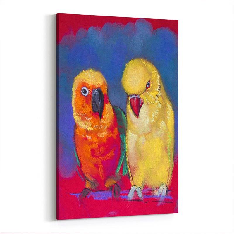 Yağlı Boya Görünümlü Papağan ve Kanarya Kanvas Tablo