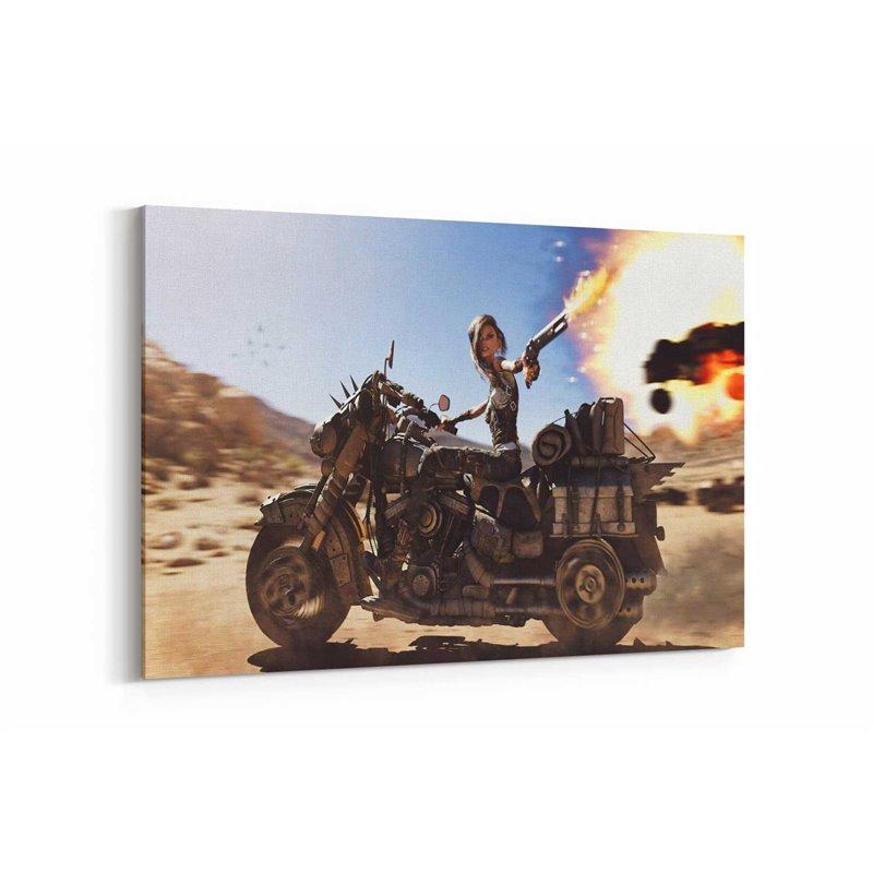 Mad Max Motorcu Anime Kız Kanvas Tablo