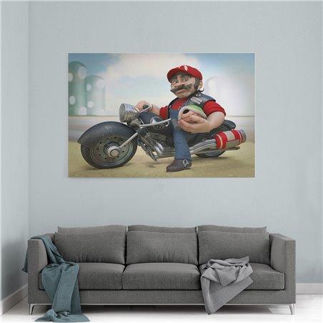 Mario ve Harley Davidson Kanvas Tablo