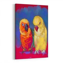 Papağanlar Çizim Kanvas Tablosu