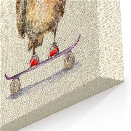 Kaykay Baykuş Kanvas Tablo