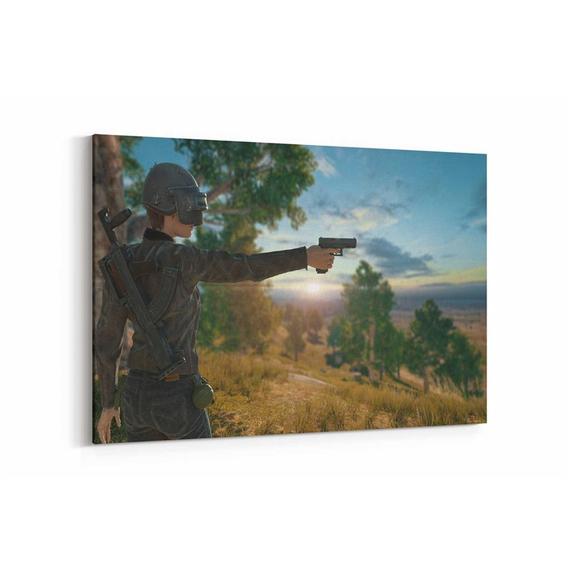 Pubg Silahlı Kasklı Kız Kanvas Tablo